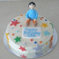 Buttercream Icing with Fondant Figurine (D, V)