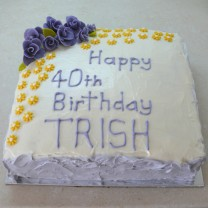 Happy Birthday Cake with Buttercream Icing with Fondant Flowers (D,V)