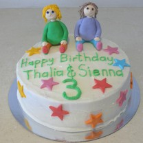 Happy Birthday Twins: Buttercream Icing with 2 Fondant Figurines (D,V)