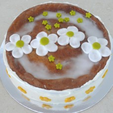 Glazed Cake with Buttercream Border & Fondant Flowers (D)