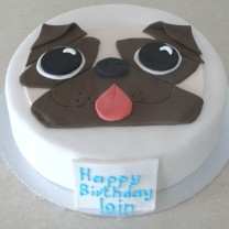 Dog: Fondant with Flat Pug Topper (D,V)