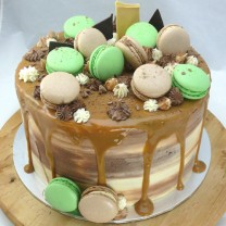 Drip Cake with Caramel and Macarons