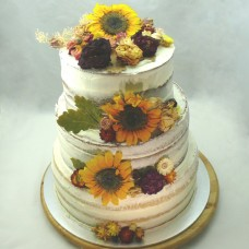 Naked Cake 3 Tiered with Dried Flowers (D, V)